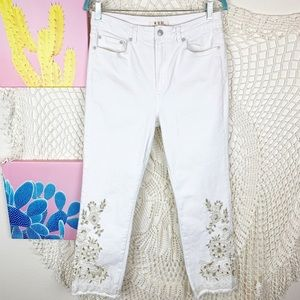 We the free high waisted cropped floral jeans 31
